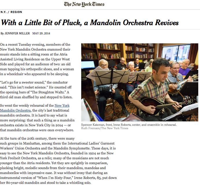 NYタイムズにマンドリンオーケストラの記事が!